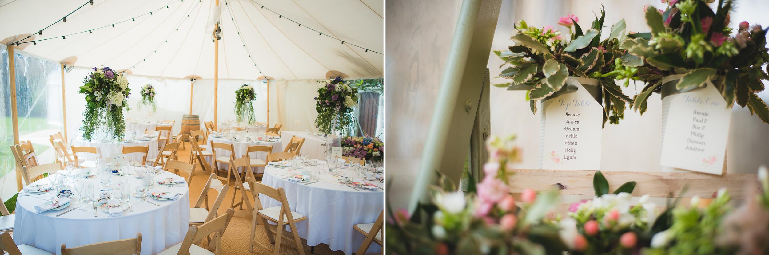 beautiful wedding flower arrangement in tipi marquee