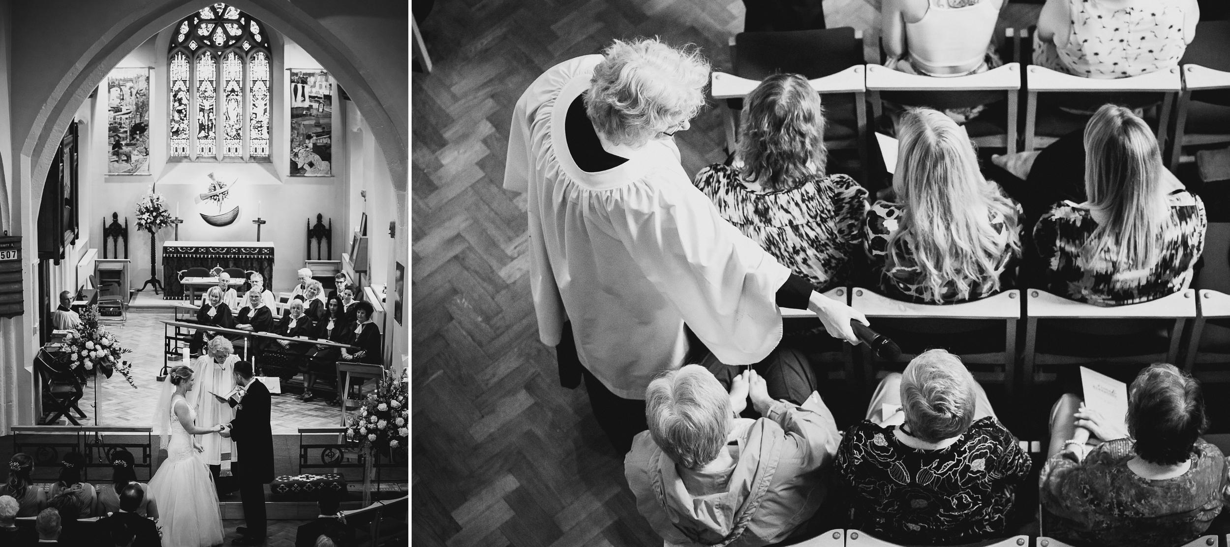 creative wedding photograph in church