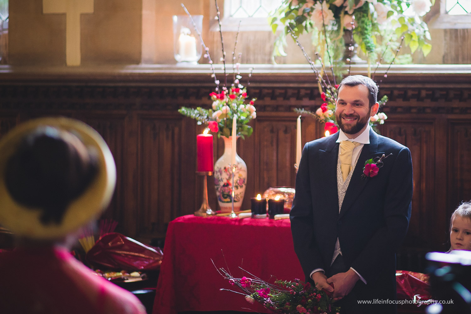 groom sees bride at st audries park wedding venue in somerset