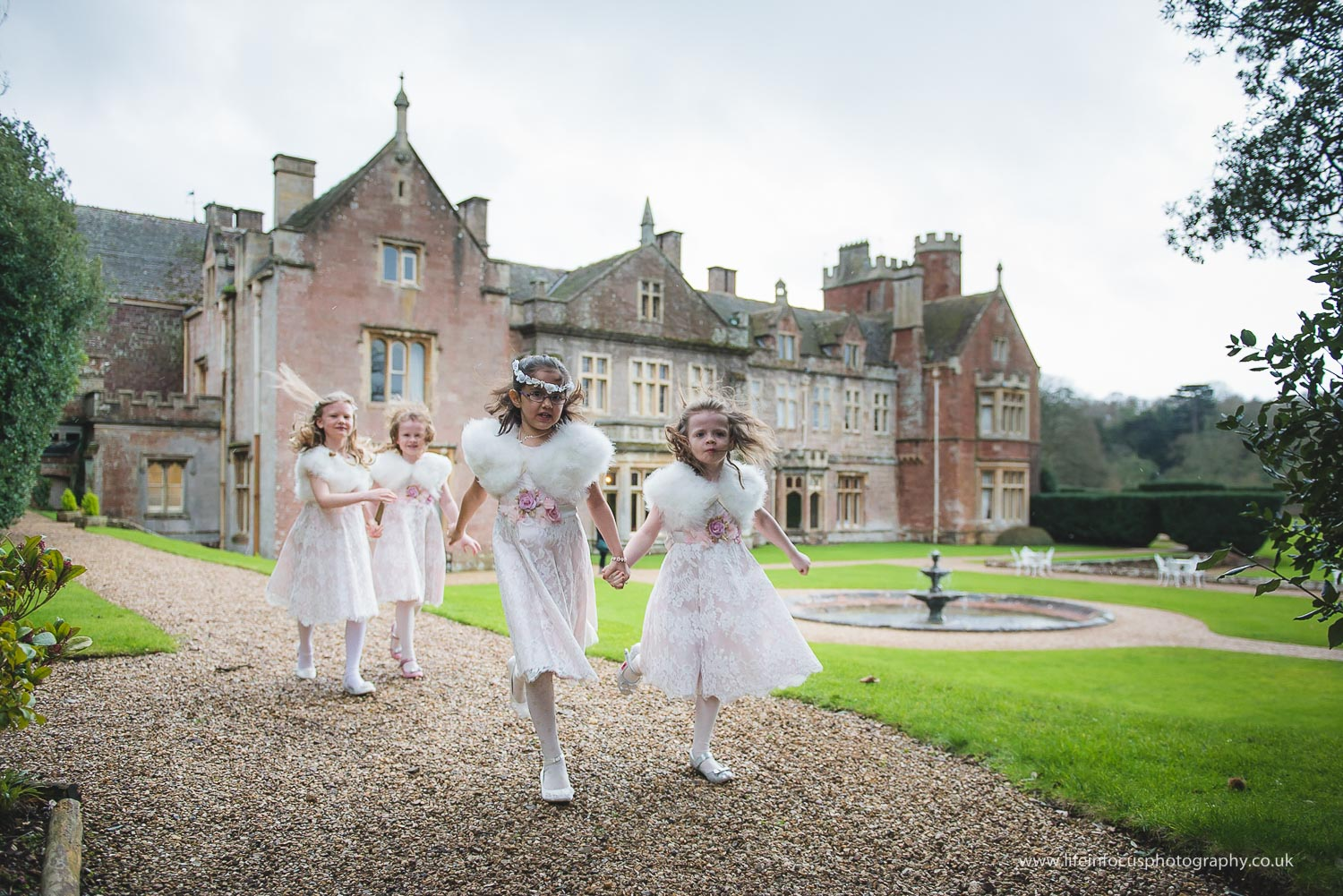 flower girls at st audries park wedding venue in somerset