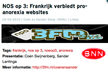 Isabelle Plasmeijer - over pro ana websites www.isapower.nl --> kies pers en media