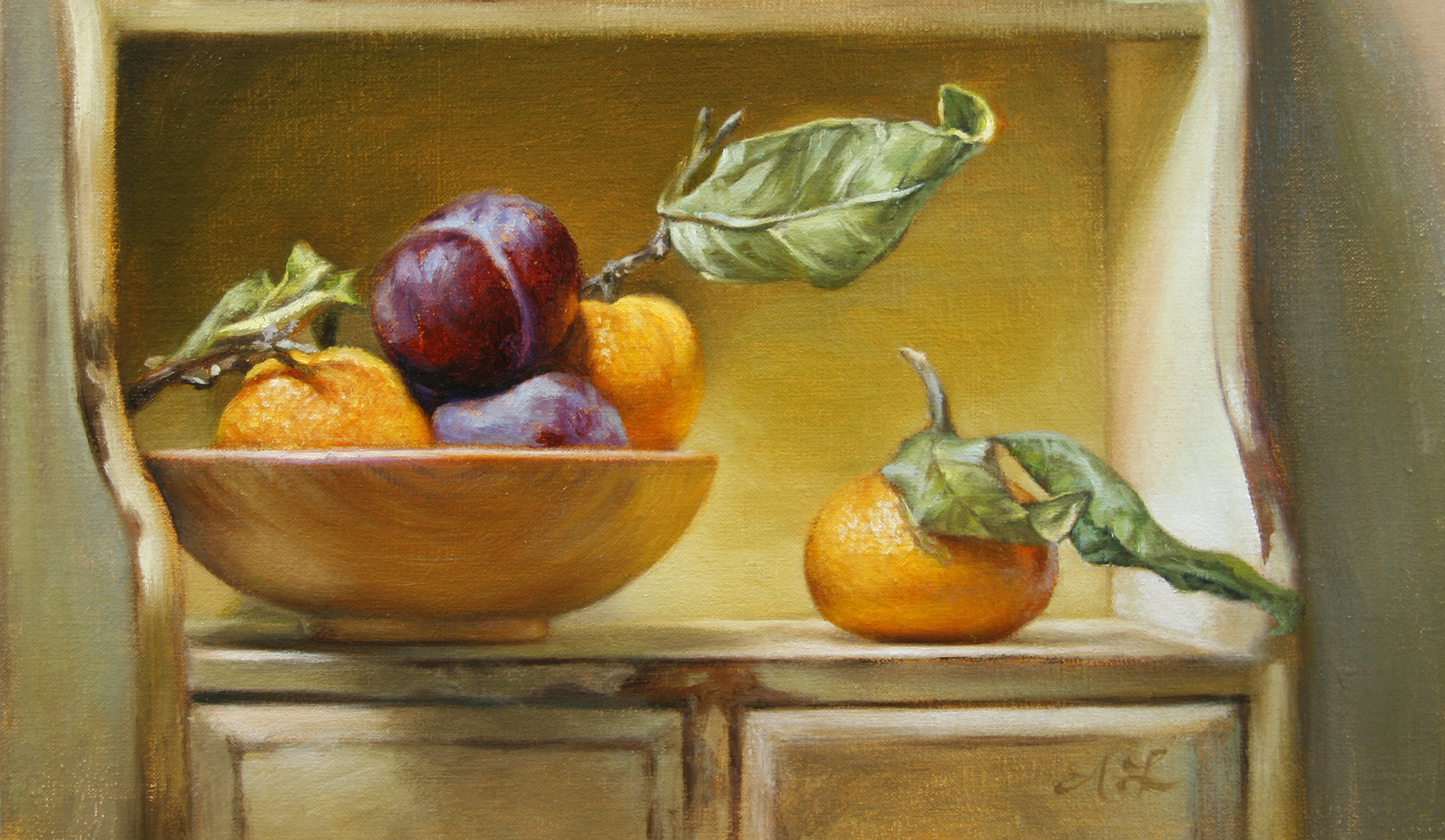"Oranges and Plums   7"" x 12""    Oil on Linen   SOLD"