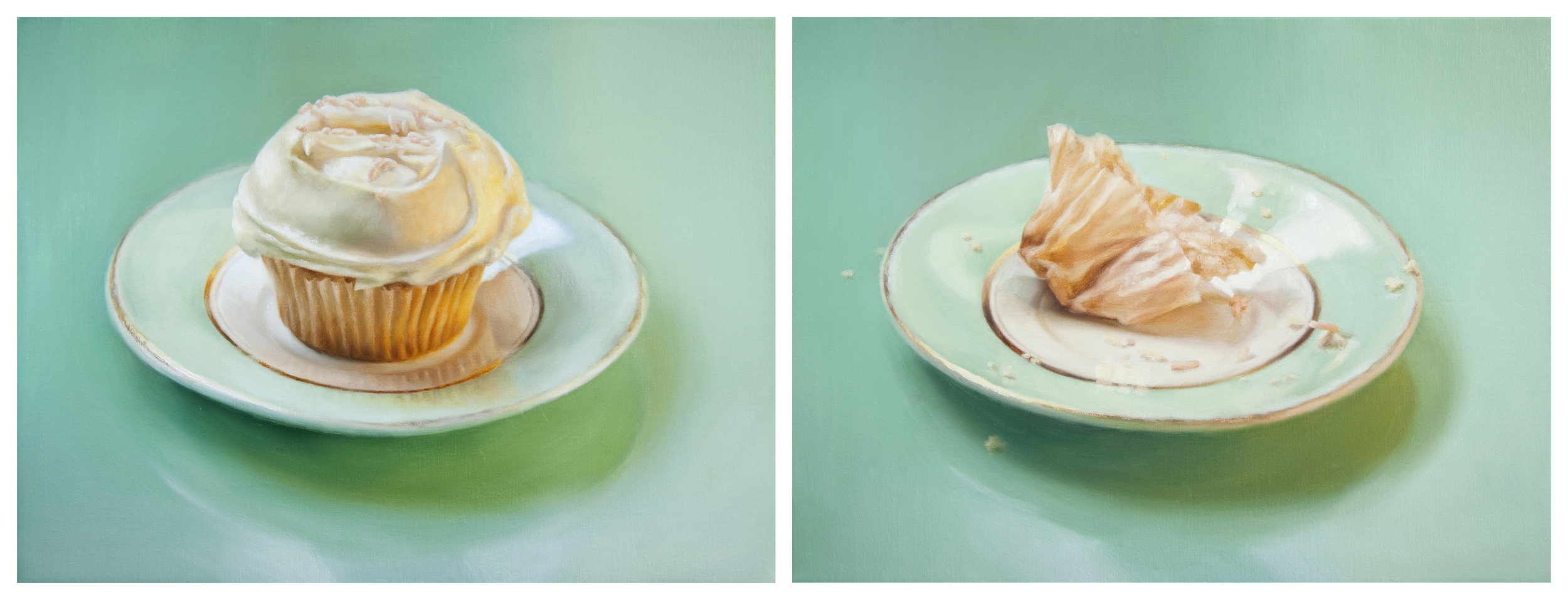 """Dyptich -  LEFT: Temptation  12"""" x 16""""  Oil on Linen  RIGHT: Tempted 12"""" x 16""""  Oil on Linen  SOLD"""