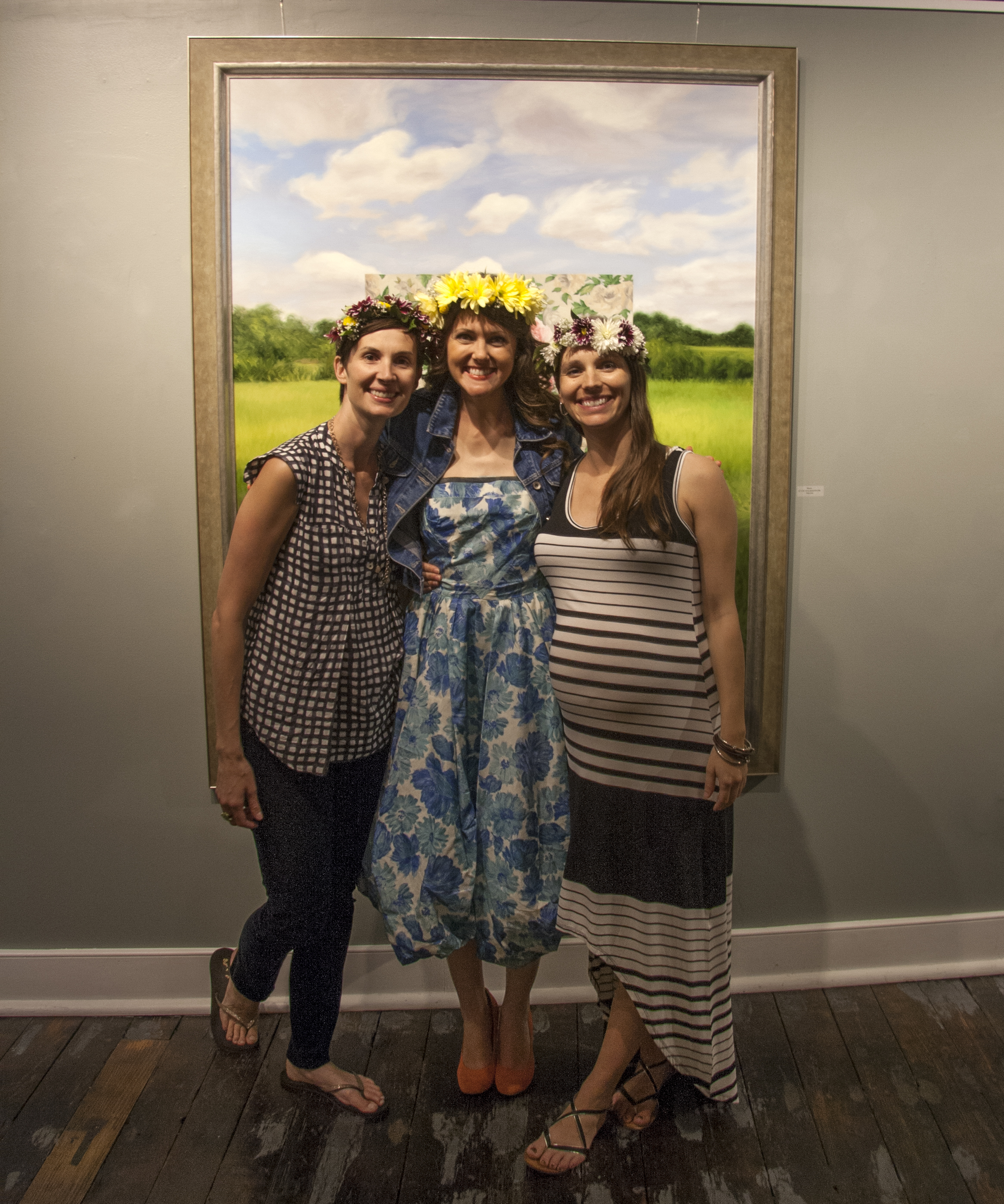 Amy Lind in middle with Gallery Associate Curry Ernst on left and Gallery Owner/Director Megan Lange on right