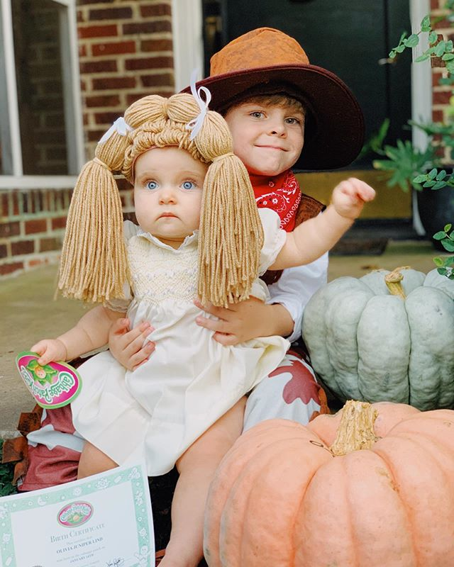 Forrest was VERY excited to be a cowboy, but for some reason Olivia didn't share the same enthusiasm for her Cabbage Patch Kid costume... 🤣 Maybe it was the 85+ degree humid weather that made wearing a yarn wig uncomfortable? Oh, or maybe it was simply that she's 9 months old, and not an ACTUAL doll that I can dress up as I please...? 🤔🙃 #happyhalloween2019 #happyhalloween #babysfirsthalloween #cabbagepatchkids #cowboy