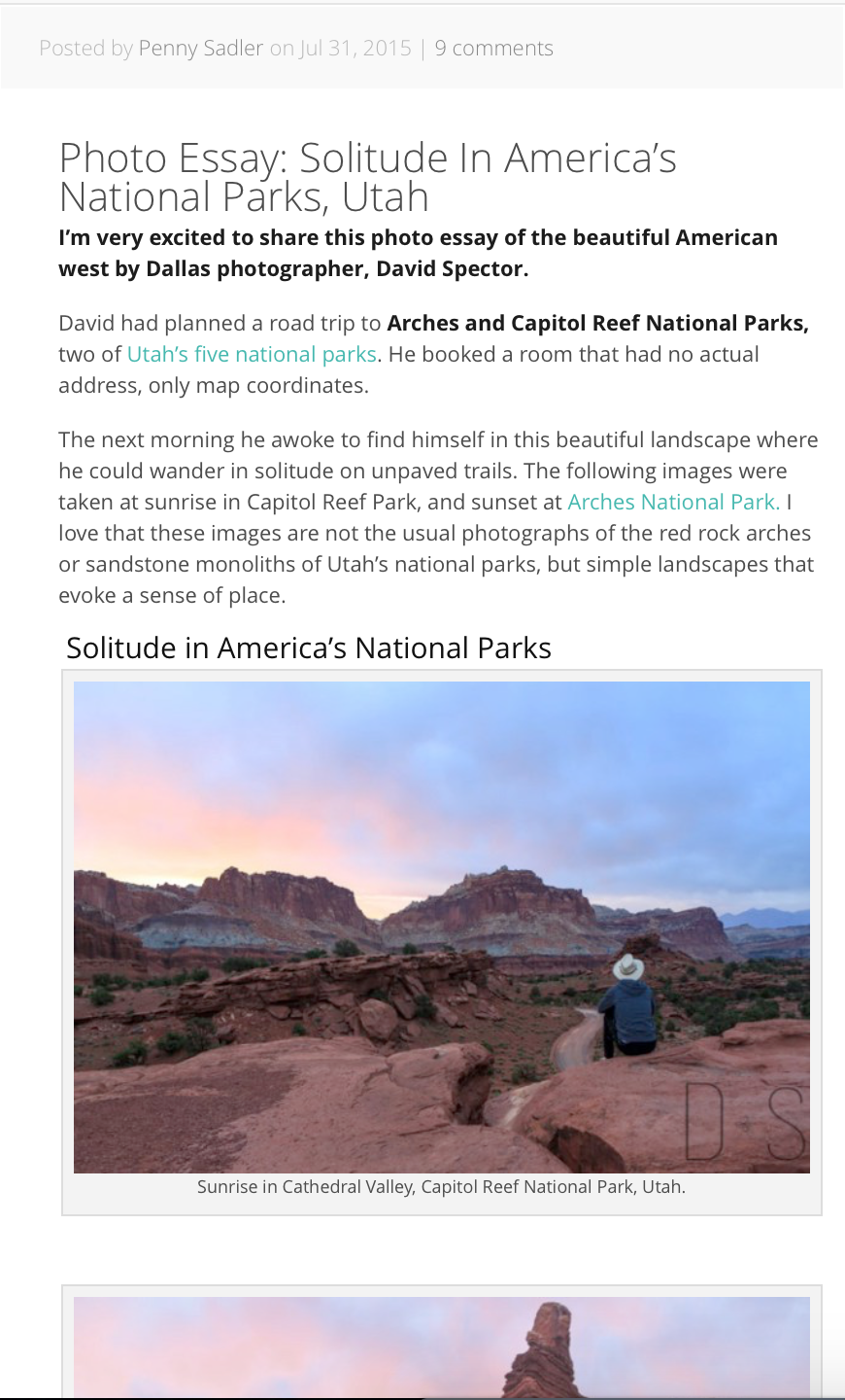 Interviewed and featured on travel blog for work done in Utah National Parks