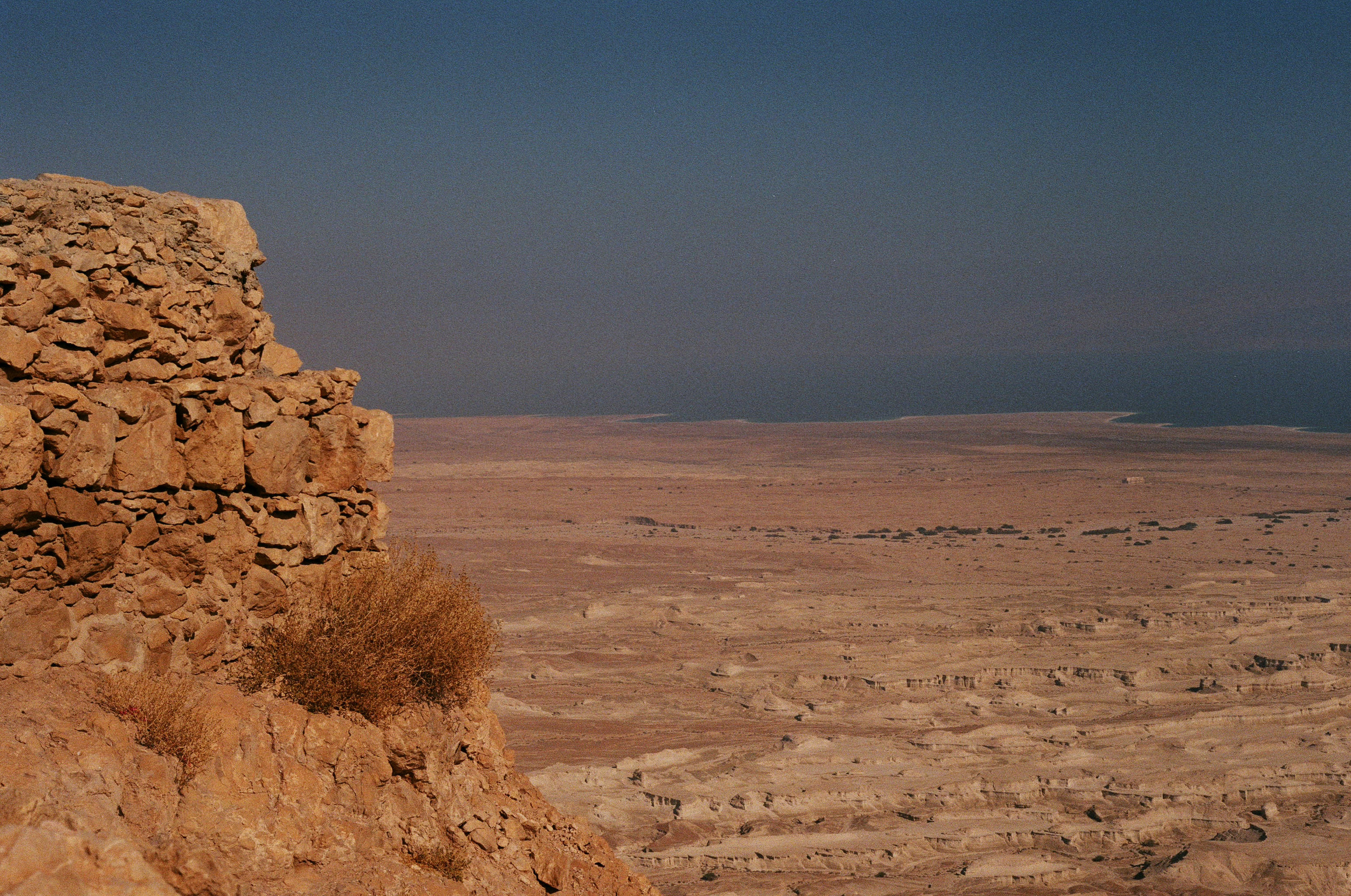 View of the dead sea from atop Masada.