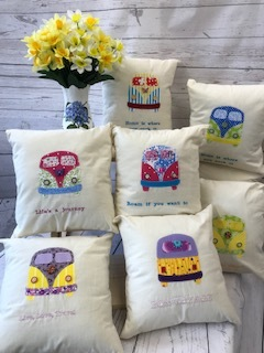 Camper van cushions 12ins X 12ins £8.99 assorted colours, embroidered quotes
