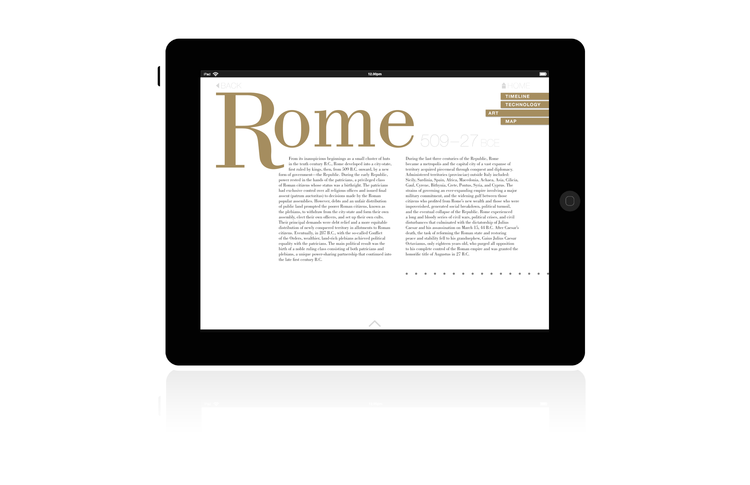 Civilizations intro pages, give a shorten history of that period ie. famous leaders, wars, or cultural developments, that will help give context to the pieces presented.