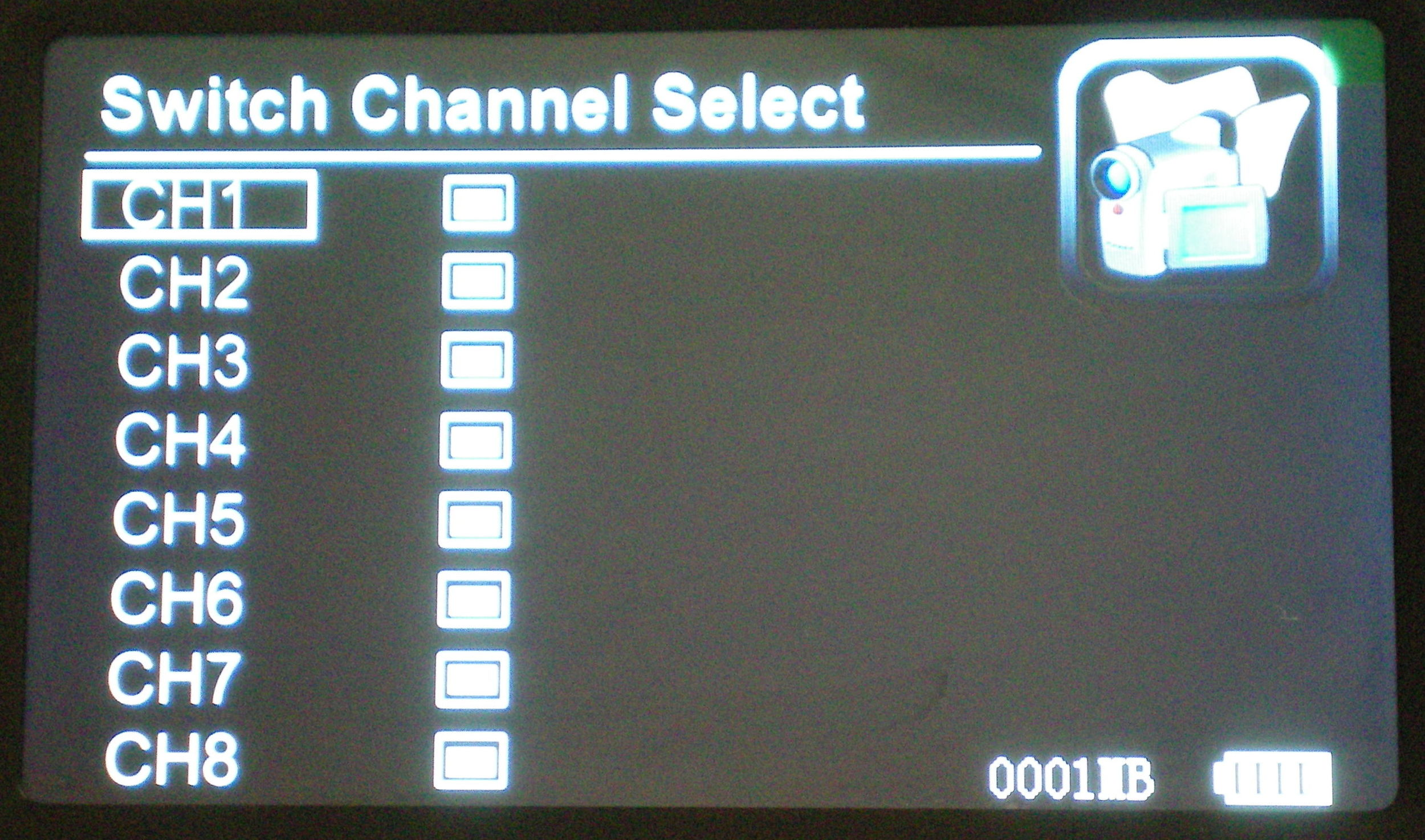 Up to eight cameras may be viewed on one receiver