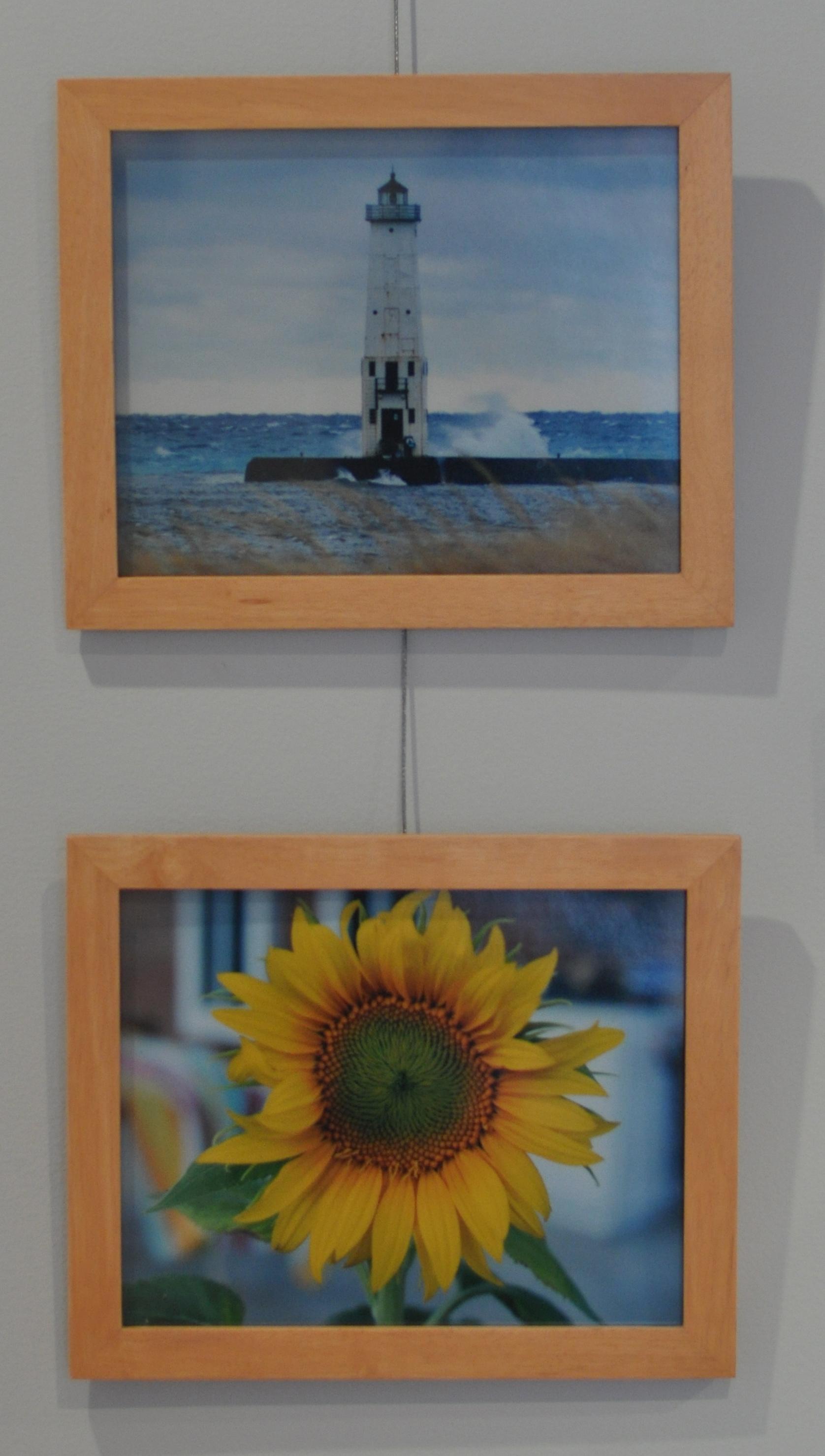"""Lighthouse"" (top)   Photograph, 2009    ""Sunflower""   Photograph, 2009    Heather Moore Hodson Class of 1989"