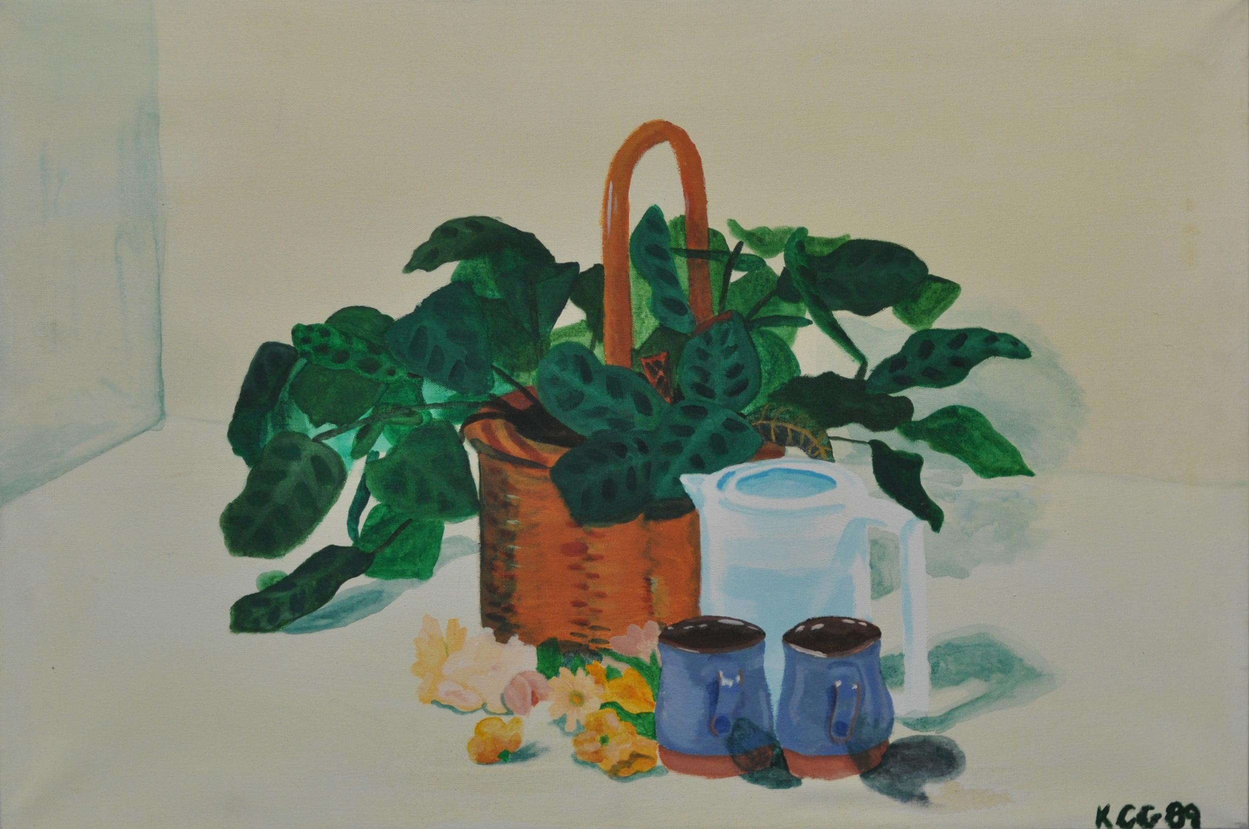 """Coffee Time"" Acrylic on canvas, 1989  Karen Gardener Class of 1993"