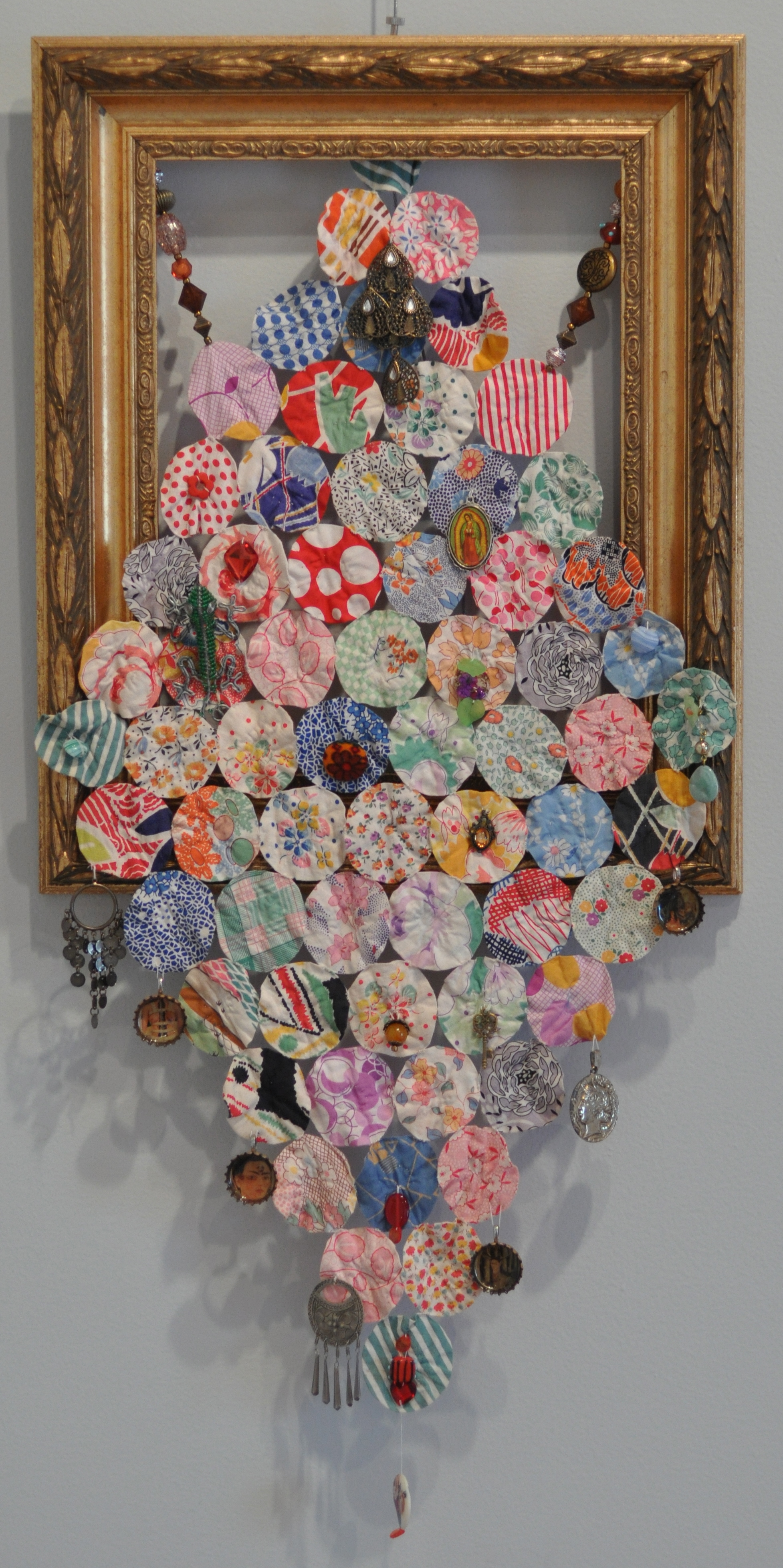 """Frieda""   Fabric, beadwork, bottle caps, metal charms    L. Kay Cotton"