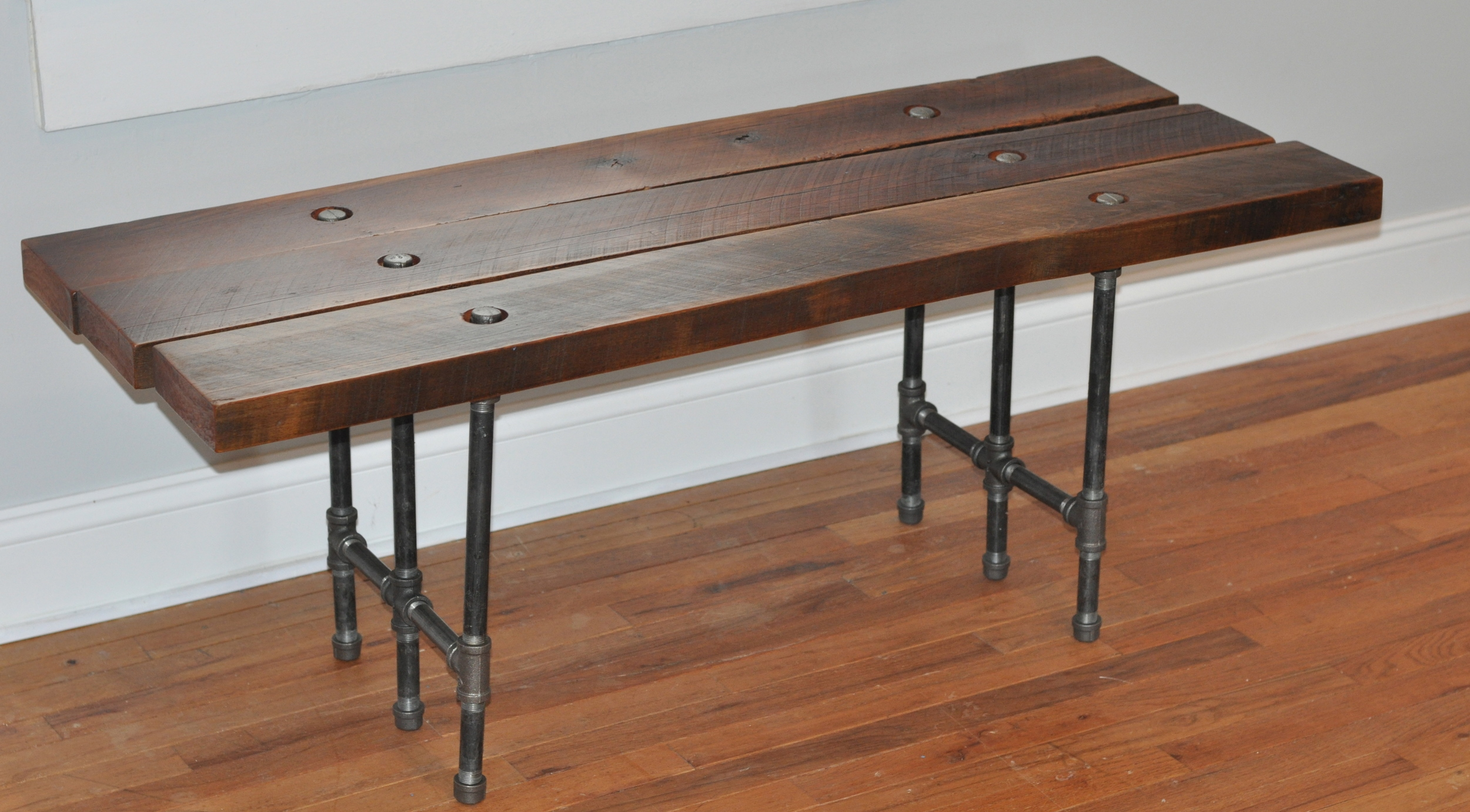 """""""Shifty Six Table""""   Iron pipe, reclaimed wood, 2013    Stephen Scharbrough   Class of 2004    The IRON Slab"""