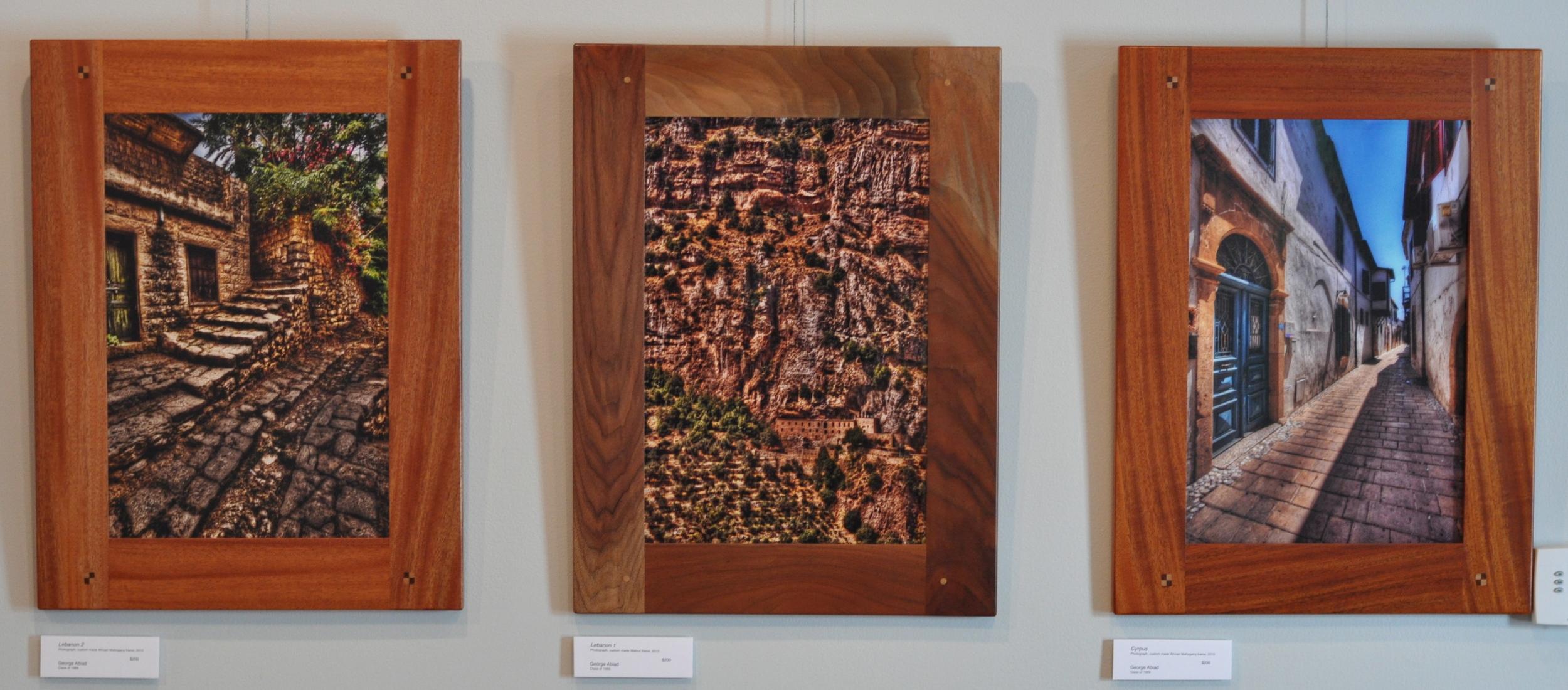 """Lebanon 2"" (left)   Photograph, custom mad African Mahogany frame, 2010    ""Lebanon 1"" (center)   Photograph, custom made Walnut frame, 2010    ""Cyprus"" (right) Photograph, custom made African Mahogany frame, 2010  George Abiad Class of 1989"