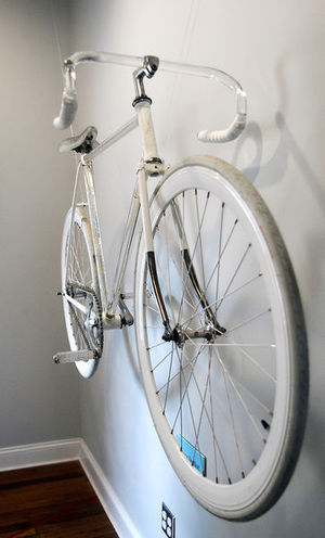 """Two new exhibits at Park Place Arts. This is """"In a Fragile State"""" by Ben Orcutt, a bicycle made of glass, metal, and bicycle parts."""