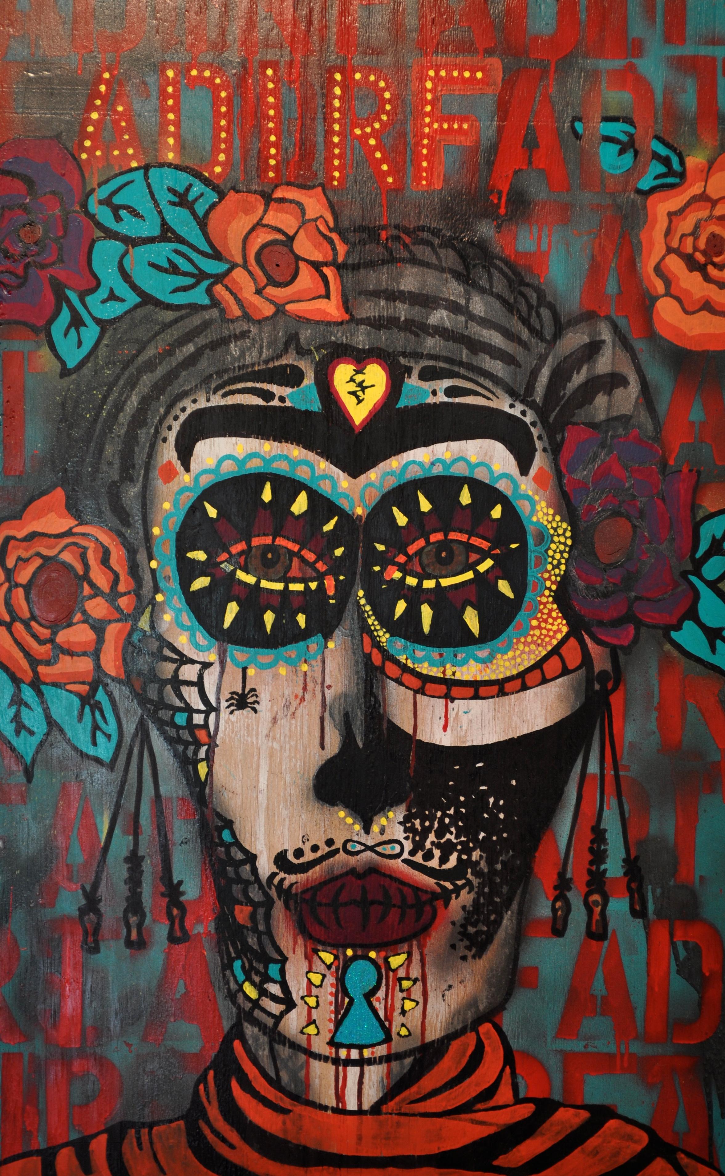 Frida   acrylic, enamel, polyurethane, Sharpie  - Shanna Henry