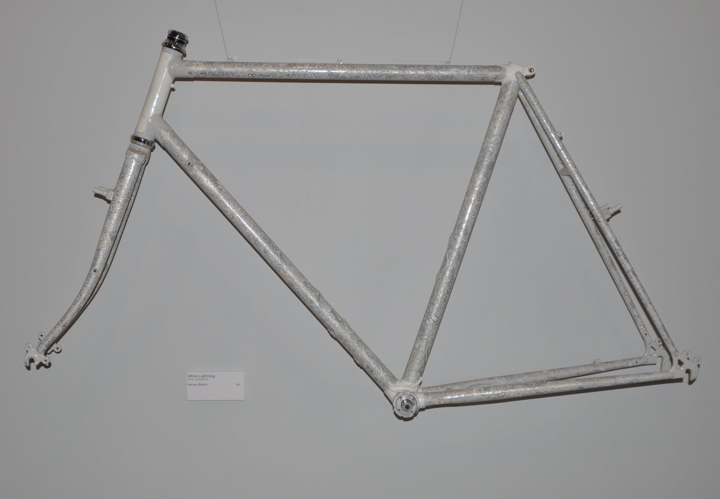 """White Lightening""   enamel, vintage bicycle  - Harvey Bayliss"