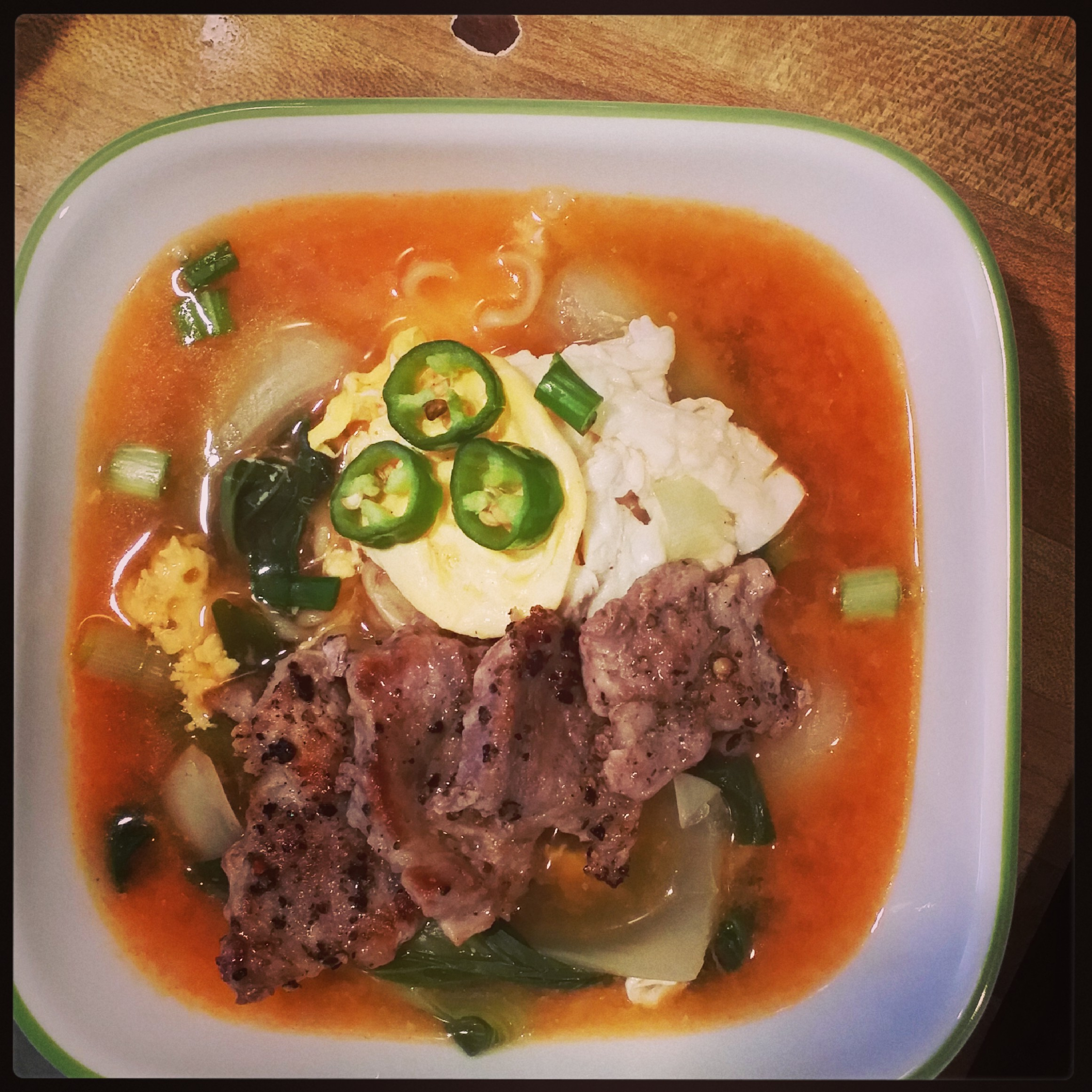 Ramyun with Eggs, Bok Choy, Scallions, Pork and Pepper decorations!