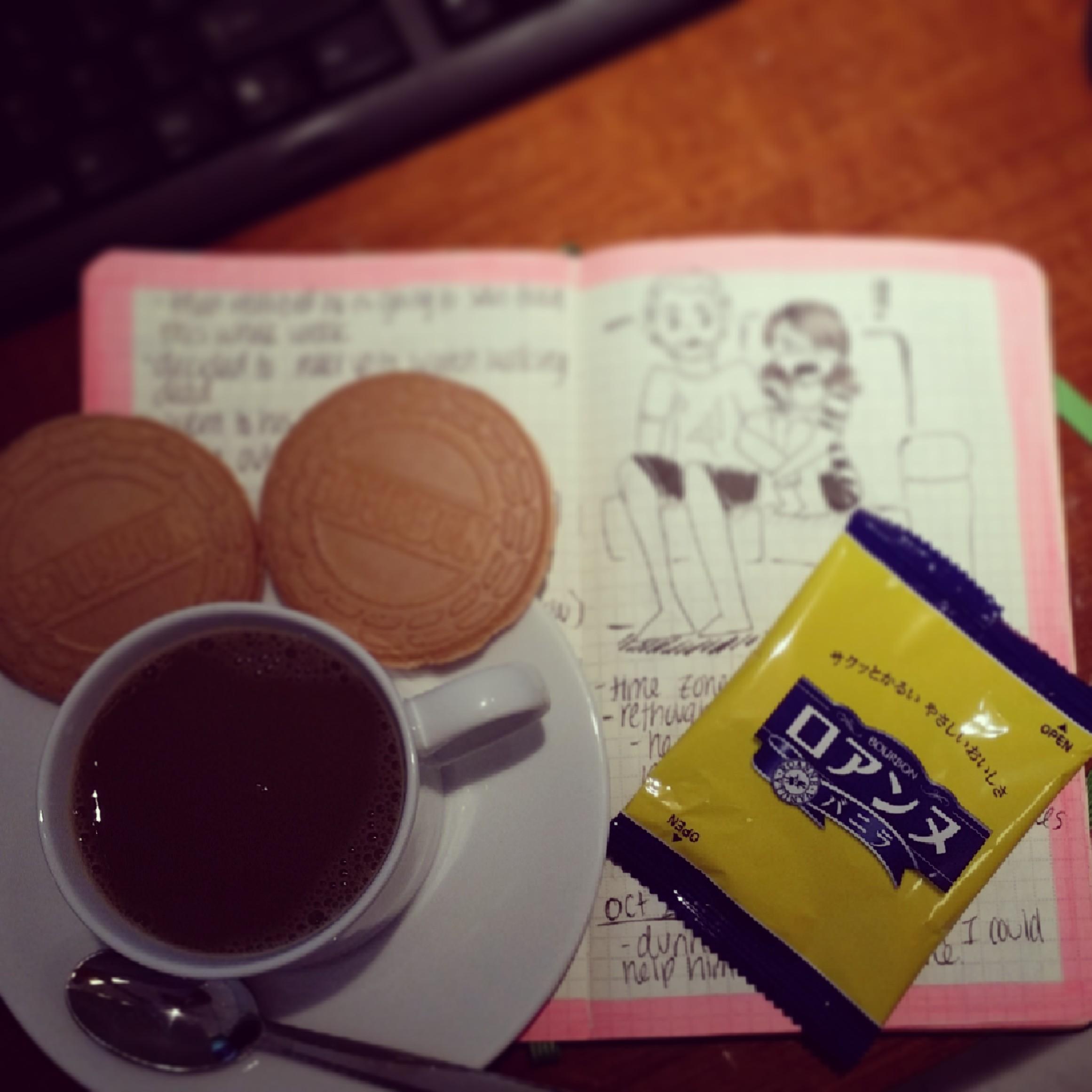 Black coffee with Vanilla creme waffers
