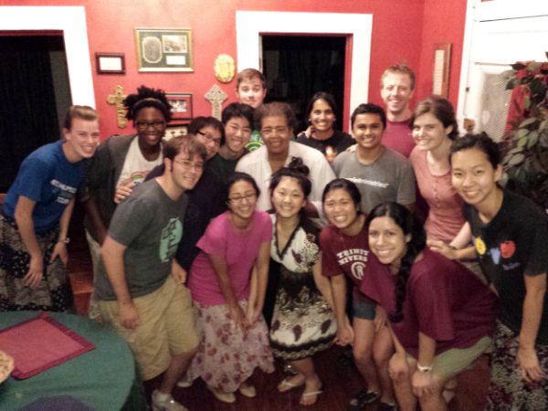 Dinner with our East side neighbor, Ms. Barbara.