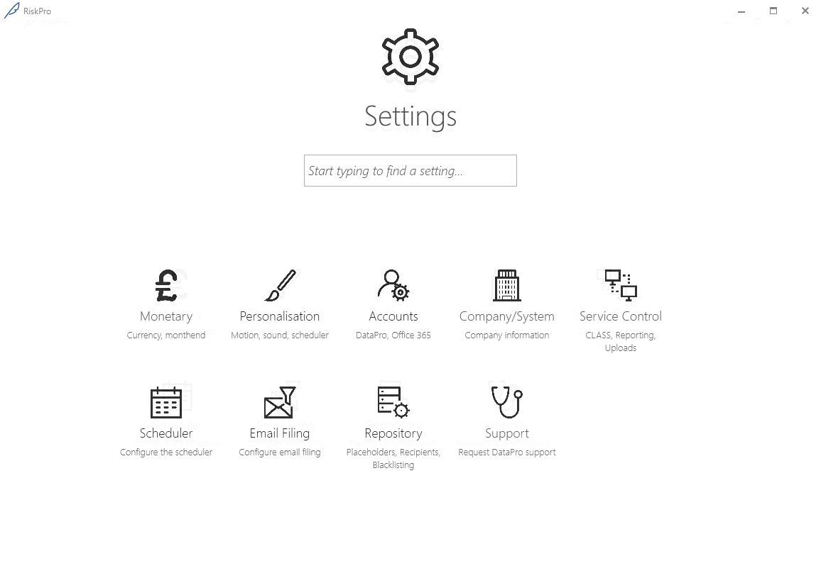 The new 'Service Control' facility will appear under the Settings menu if you have administrative rights.