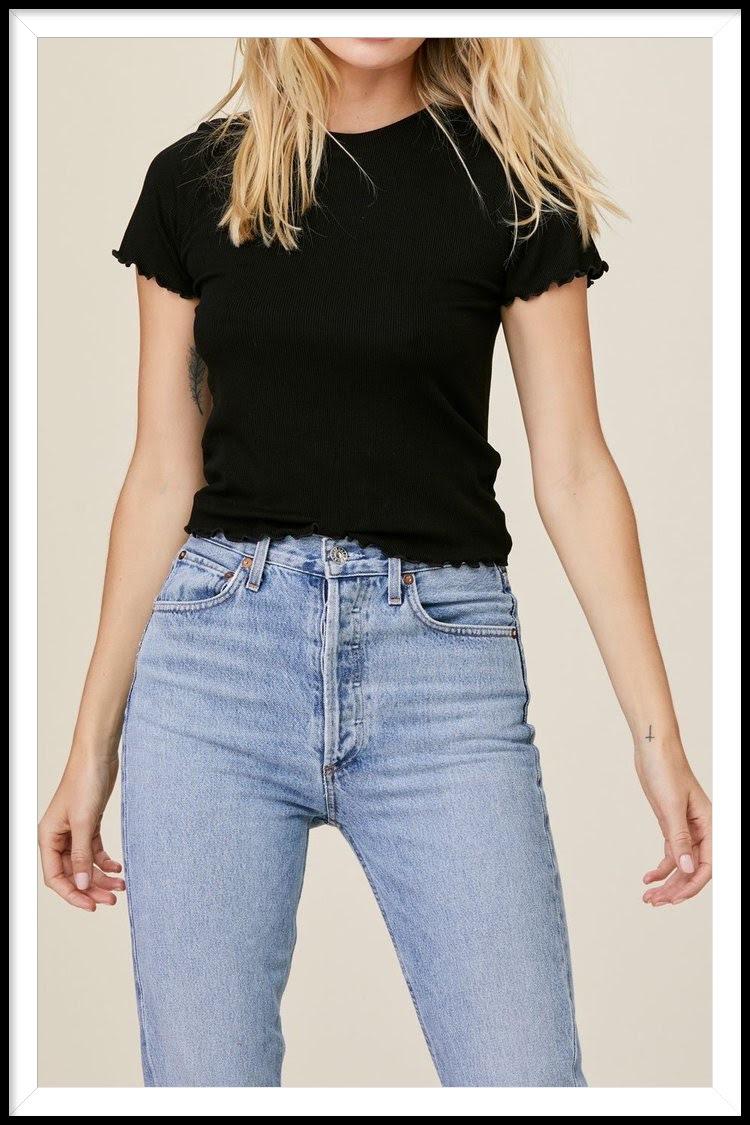 LNA black ribbed t-shirt $120