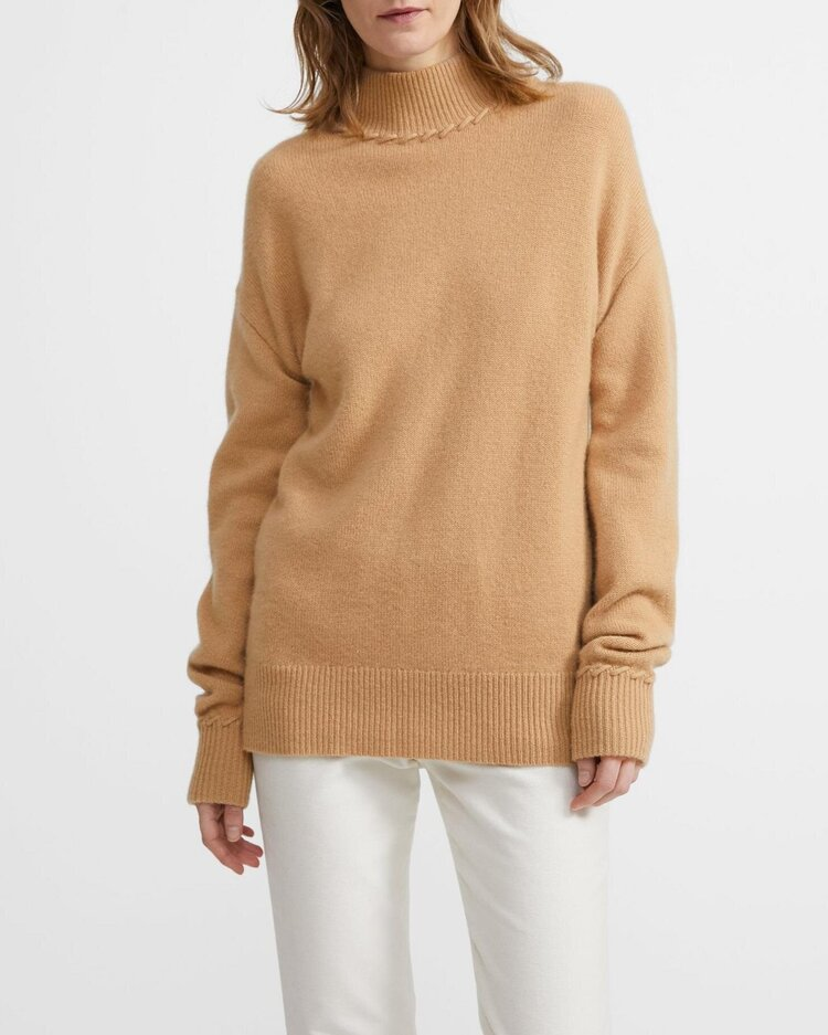 Theory cashmere whipstitch turtleneck in camel, $650