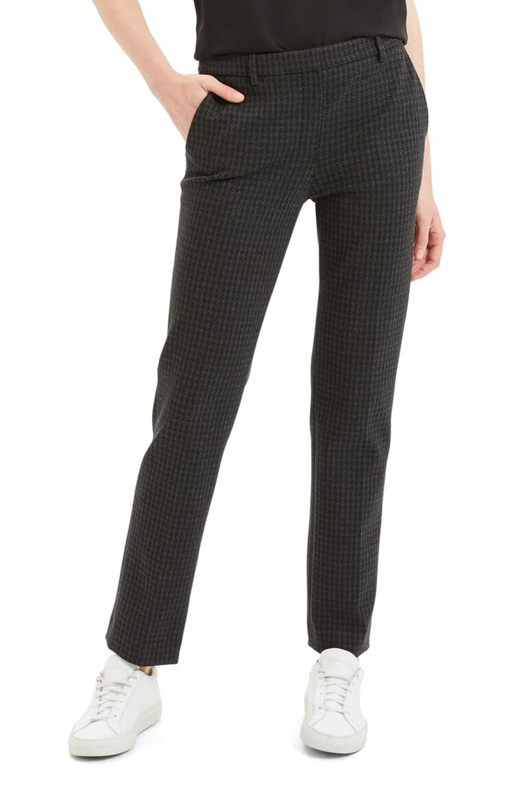 - Theory also shines when it comes to tailoring. The brand's attention to fit is razor sharp, resulting in pieces that are easy to throw on and yet always look ultra put-together. We like these slightly cropped trousers with boyfriend blazers or sleek tops (or any of the cashmere above). Theory houndstooth pant $465