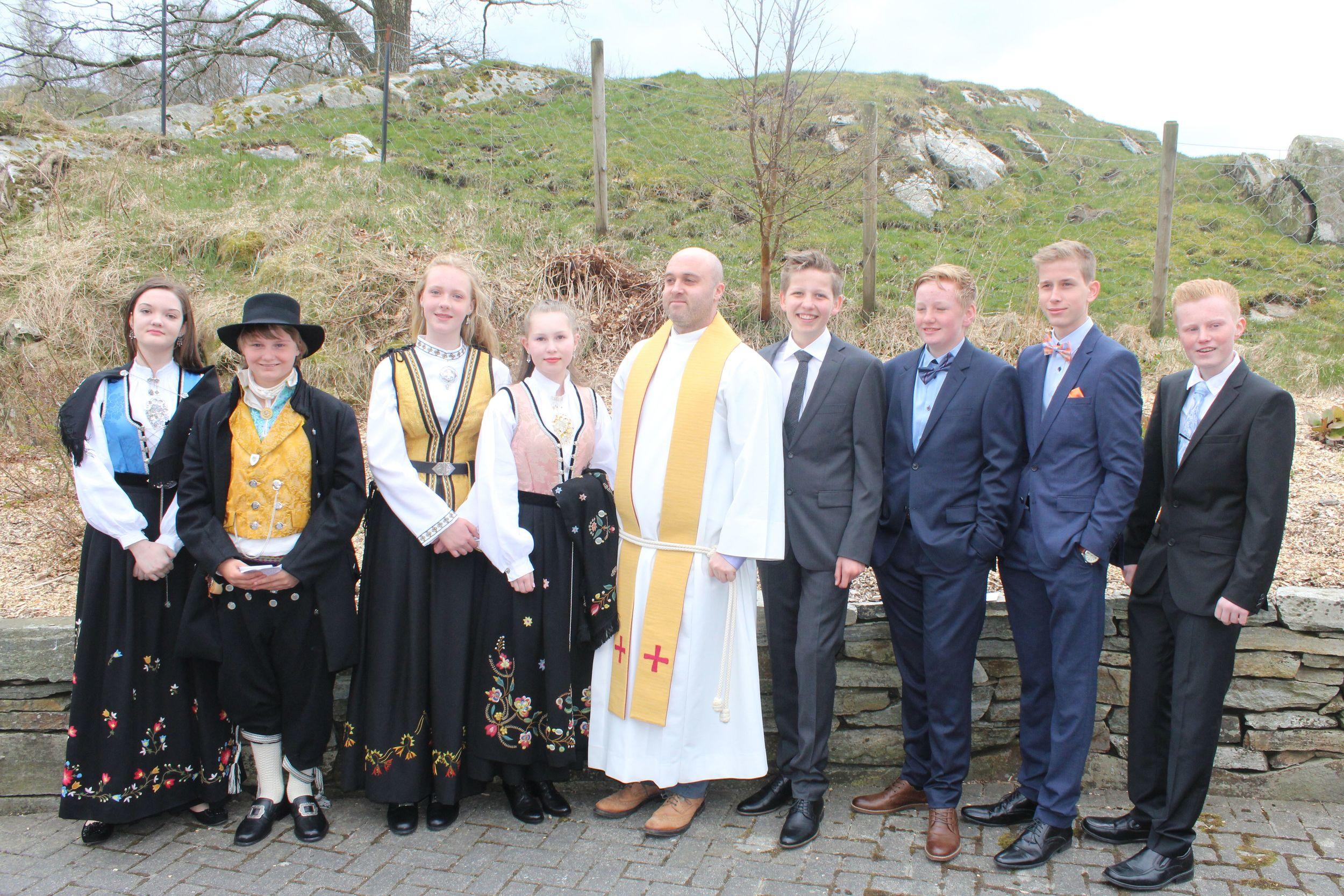 Frå venstre: Ingrid Marie Bøe, Adrian Lode, Rebecka Bø Rolfsen, Marie Sofie Østhus, Terje Engstrøm, Tom Arne Straumstein, Karl Magne Frafjord, Tor Olav Bø Måkestad og Robin Gjengedal Torgersen.