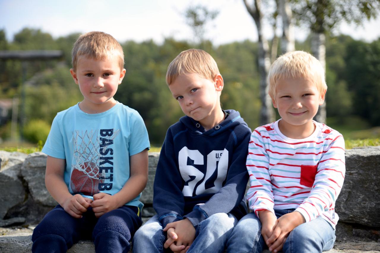 Årets førsteklassingar, frå venstre: Jonatan, Håkon og Samuel!