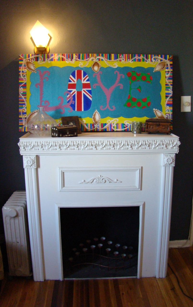 This is a fireplace that I built back when we had a garage in Texas. It makes a great romantic focal point. I even replicated a tapestry I saw into a painting. If you love something, try to make it first!