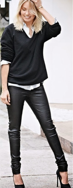 Leather pants the casual way.  Pair this outfit with colorful flats and run your errands.