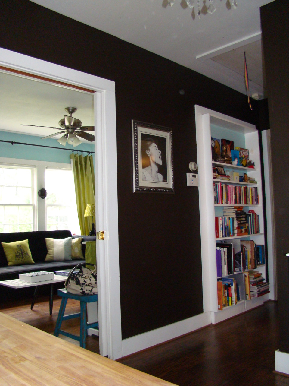 Panting the inside of a bookshelf really makes things pop! It's a very easy weekend project.