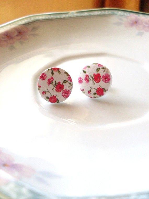 Red floral stud earrings@ Etsy.com