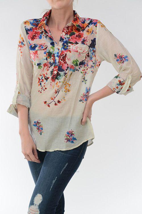 Floral Madeleine shirt @ emmastine.com