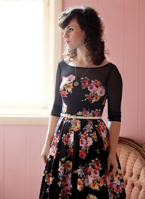 Dark floral dress with mesh boat neck top @ Modcloth.com