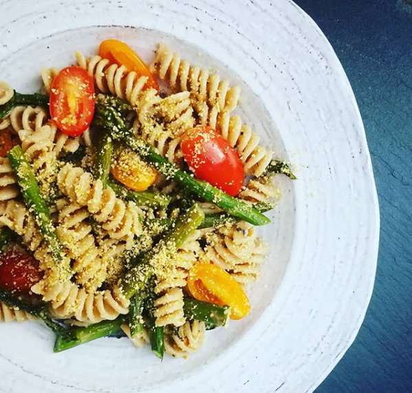 Roasted Asparagus and Tomato Pasta