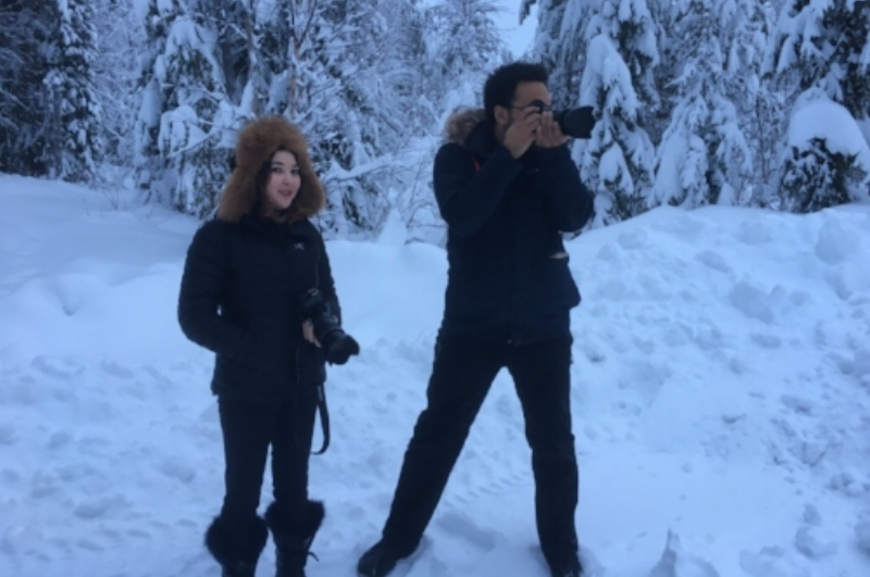 My friend Miguel and me filming Shaman