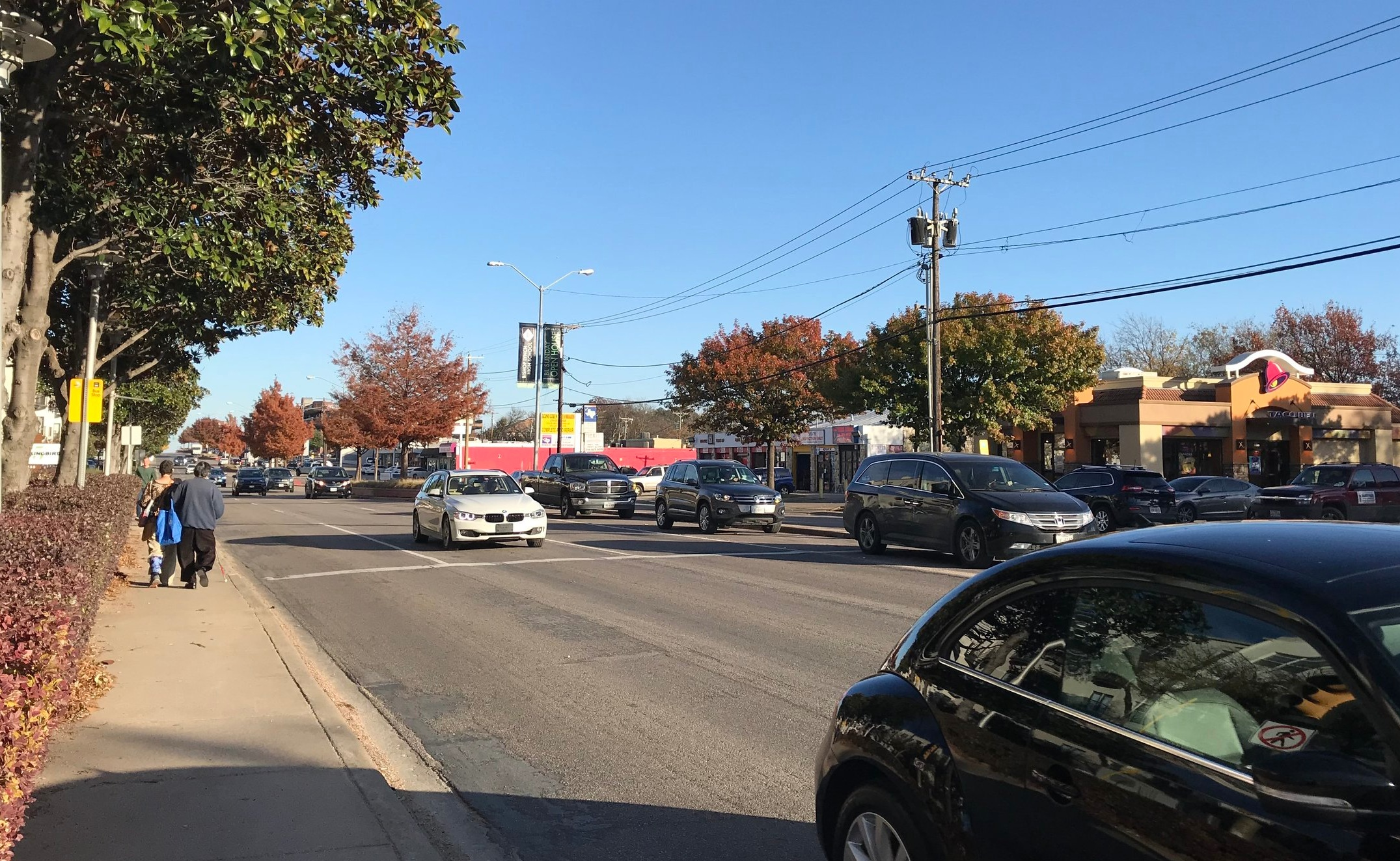 A pretty normal street in Dallas, TX. This one happens to be Mockingbird Lane, adjacent to the Mockingbird Station transit stop. (Photo: Jordan Clark)