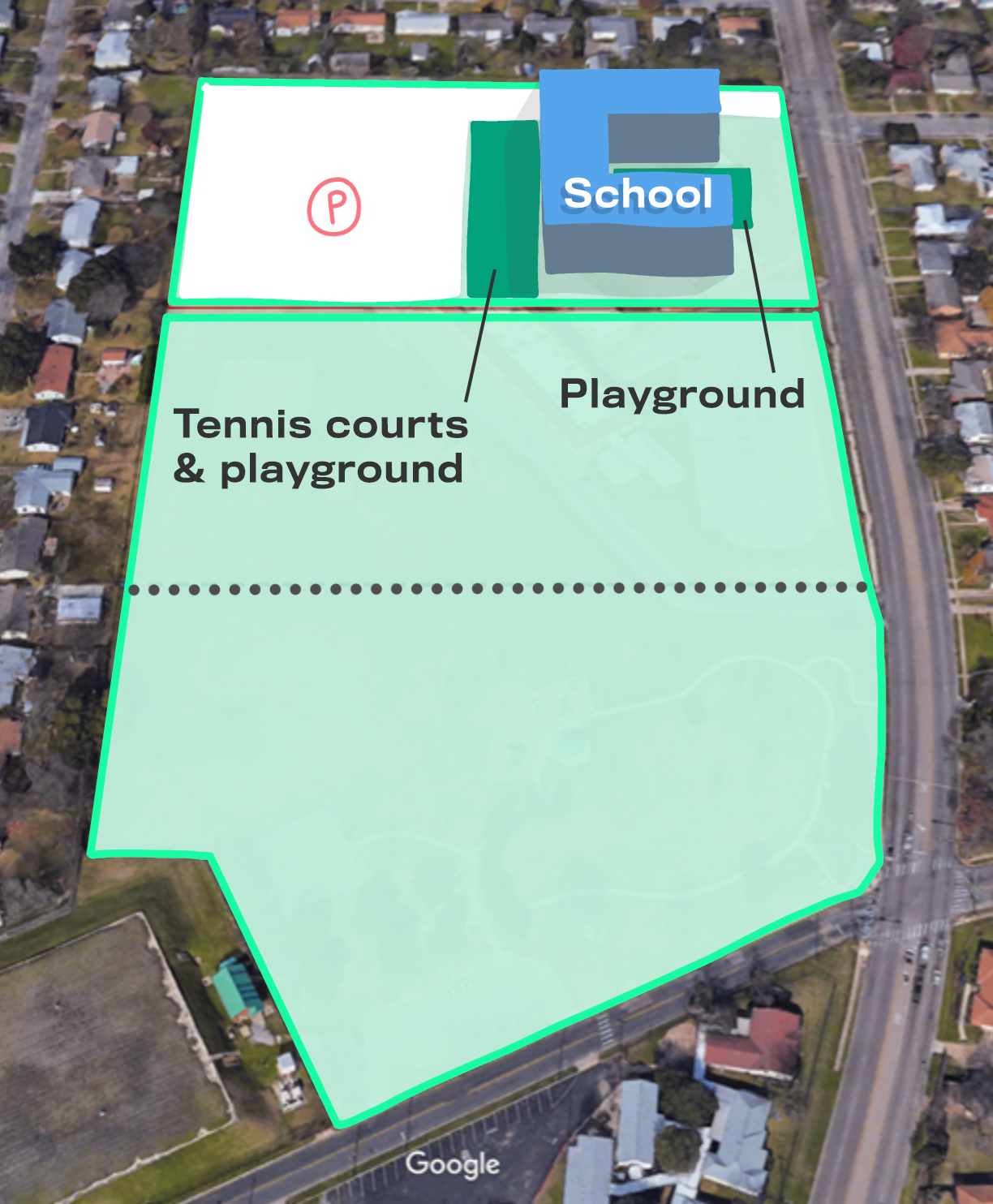An alternative option for combining park and public school grounds, with a much smaller footprint