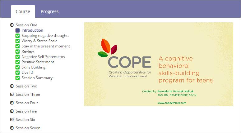 COPE 7-session Teen Online Program - Session 1 Topics