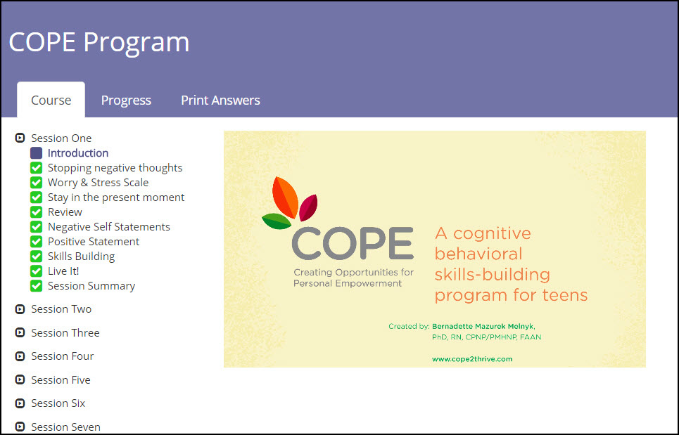 COPE 7-session Teen Online Program