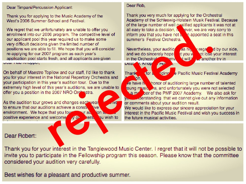 this is my 'rejection collage,' made of the actual rejection emails from my 2006-2007 summer festival audition results.