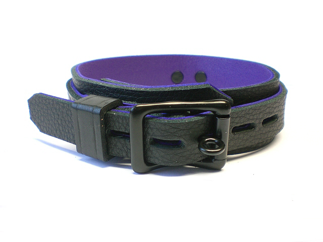 lockable buckle w/leather keeper - black w/purple inlay