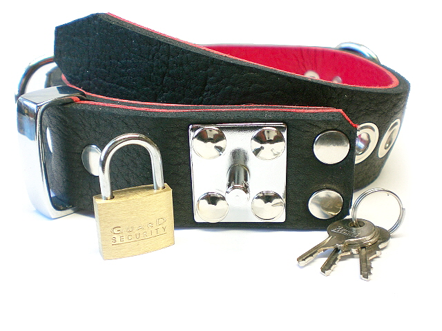 lockable padlock stud - black bison w/red bullhide