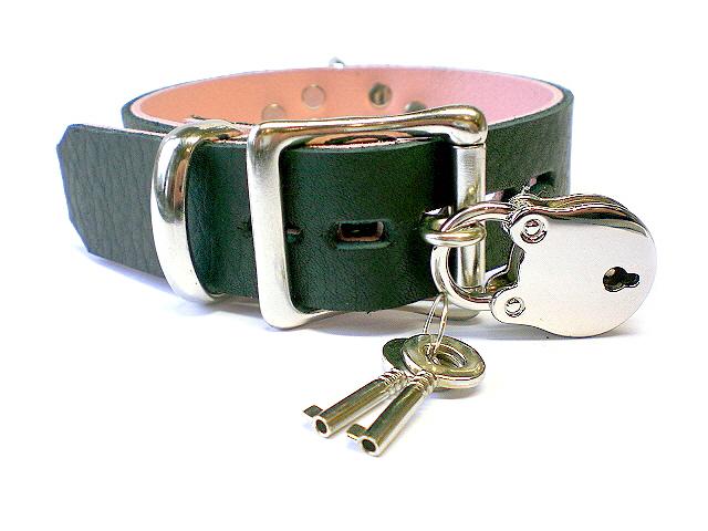 soft black w/pink inlay - lockable buckle w/padlock