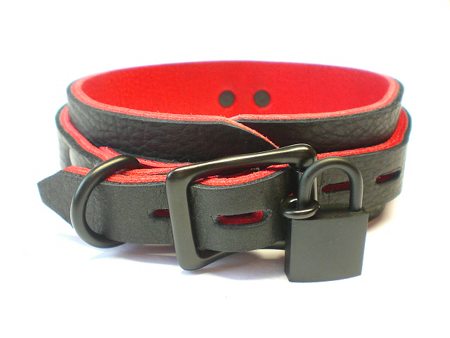 lockable w/padlock - black bison w/red bullhide