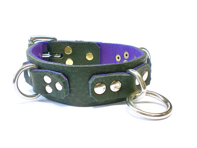 silver rivets (solid brass stems) black w/purple inlay