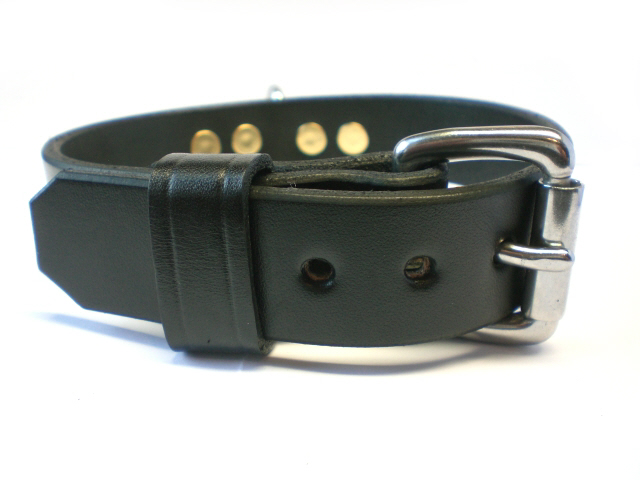 stainless steel buckle - black leather keeper